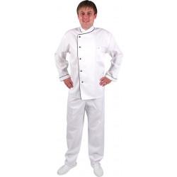 Куртка шеф-повара бело-чёрная [0301]  - интернет-магазин КленМаркет.ру