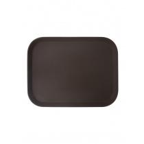 Поднос прорезиненный прямоугольный 460х360х30 мм коричневый [1418CT Brown]