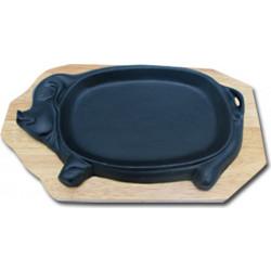 Сковорода на деревянной подставке Свинка 310х180 мм [PIG]  - интернет-магазин КленМаркет.ру
