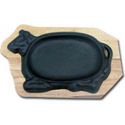 Сковорода на деревянной подставке Коровка 270х180 мм [DSU-S-SN (COW)] - интернет-магазин КленМаркет.ру