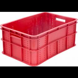 Ящик 600х400х260 мм перфорированные бока сплошное дно, ПЭНД [ЯК-255] - интернет-магазин КленМаркет.ру