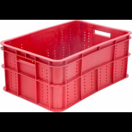 Ящик 600х400х250 мм перфорированные бока сплошное дно, ПЭНД [ЯК-255] - интернет-магазин КленМаркет.ру