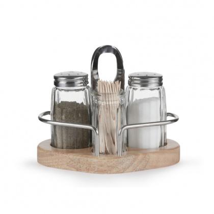 Набор для специй (соль, перец, зубочистки) на деревянной подставке Luxstahl [1003] - интернет-магазин КленМаркет.ру