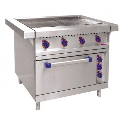 Плита электрическая ABAT ЭП-4ЖШ четырехконфорочная с жарочным шкафом (лицевая нерж, серия 900) - интернет-магазин КленМаркет.ру
