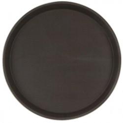 Поднос прорезиненный круглый 350х25 мм коричневый [1400CT Brown] - интернет-магазин КленМаркет.ру