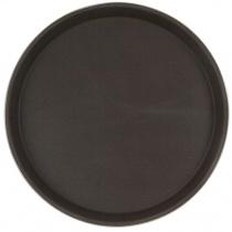 Поднос прорезиненный круглый 350х25 мм коричневый [1400CT Brown]