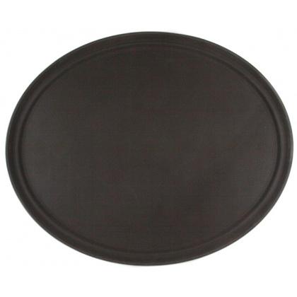 Поднос прорезиненный овальный 680х45 мм коричневый [2700CT Brown] - интернет-магазин КленМаркет.ру