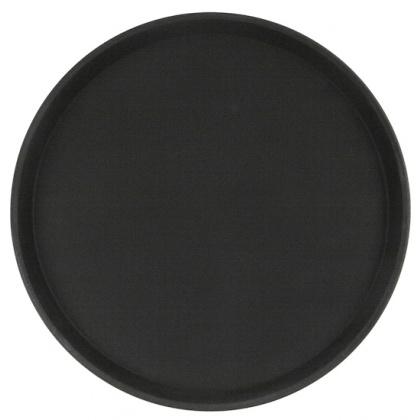 Поднос прорезиненный круглый 400х25 мм черный [1600CT Black] - интернет-магазин КленМаркет.ру