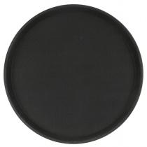Поднос прорезиненный круглый 350х25 мм черный [1400CT Black]