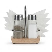 Набор для специй (соль, перец) + салфетница на деревянной подставке Luxstahl [1504N]