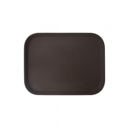 Поднос прорезиненный прямоугольный 410х300х25 мм коричневый [1216CT Brown] - интернет-магазин КленМаркет.ру