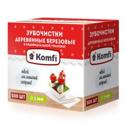 Зубочистки 500 шт в индивидуальной упаковке мятные KOMFI [6925] - интернет-магазин КленМаркет.ру