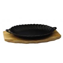 Сковорода овальная на деревянной подставке с ручками 245х170 мм [DSU-S-SD small]
