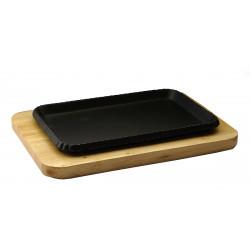 Сковорода прямоугольная на деревянной подставке 260х170 мм [DSU-S-26cm] - интернет-магазин КленМаркет.ру
