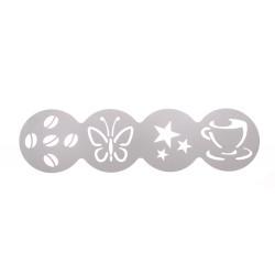 Трафарет декоратор для кофе 100 мм (чашка, звезды, бабочка, зерна) - интернет-магазин КленМаркет.ру