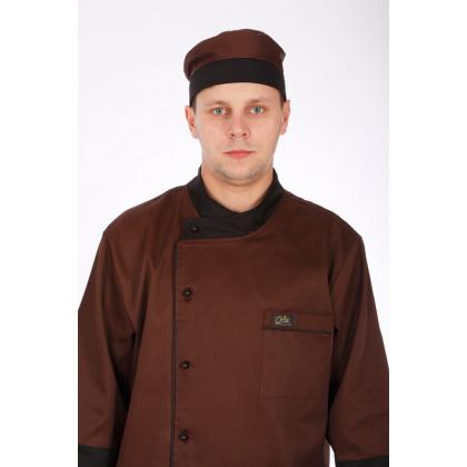 Шапочка повара «Таблетка» коричнево-черная [037] - интернет-магазин КленМаркет.ру
