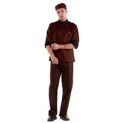 Куртка шеф-повара коричнево-черная [0304] - интернет-магазин КленМаркет.ру