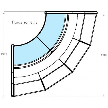 Витрина холодильная угловая 90° «Диона» ВС-21 УВ вентилируемая - интернет-магазин КленМаркет.ру