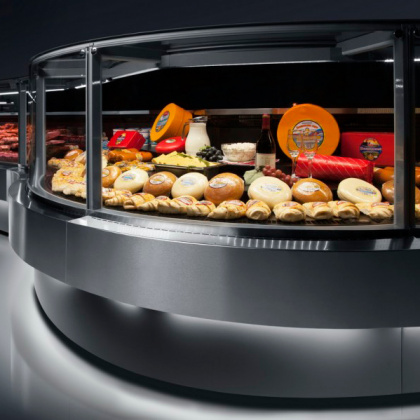 Витрина холодильная угловая 90° «Cube Greenber» ВС 44 — УН 90R (наружный радиусный угол) - интернет-магазин КленМаркет.ру