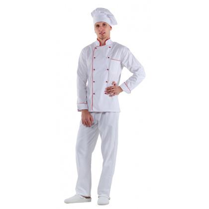 Куртка шеф-повара белая мужская с манжетом (отделка красный кант) [00002] - интернет-магазин КленМаркет.ру