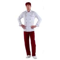 Куртка шеф-повара белая мужская с манжетом (отделка бордовый кант) [00002] - интернет-магазин КленМаркет.ру
