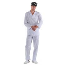 Куртка работника кухни мужская белая с белым воротником [00100]