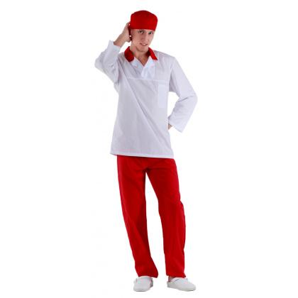 Куртка работника кухни мужская белая с красным воротником [00100] - интернет-магазин КленМаркет.ру