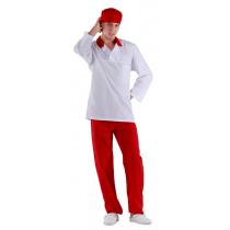 Куртка работника кухни мужская белая с красным воротником [00100]