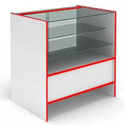Прилавок остекленный, с раздвижными стеклянными дверцами S6090SD STEP (кромка красная) - интернет-магазин КленМаркет.ру