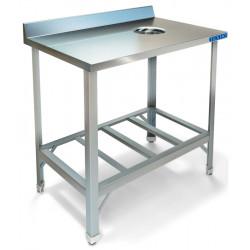 Стол пристенный для сбора отходов ТЕХНО-ТТ СПС-211/600 краш (отверстие в центре) - интернет-магазин КленМаркет.ру