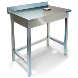 Стол пристенный для сбора отходов ТЕХНО-ТТ СПС-932/600 нерж (отверстие в центре) - интернет-магазин КленМаркет.ру