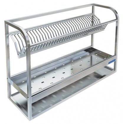 Полка настенная для сушки посуды ТЕХНО-ТТ ПН-328/900 (на 35 тарелок и 50 стаканов) - интернет-магазин КленМаркет.ру
