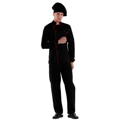 Куртка шеф-повара черная мужская с манжетом (отделка красный кант) [00002]  - интернет-магазин КленМаркет.ру