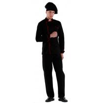 Куртка шеф-повара черная мужская с манжетом (отделка красный кант) [00002]