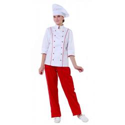 Куртка шеф-повара белая женская с манжетом (отделка красный кант) [00016] - интернет-магазин КленМаркет.ру