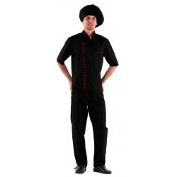 Куртка шеф-повара (диагональ) черная [00003] - интернет-магазин КленМаркет.ру