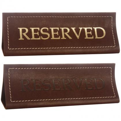 Табличка настольная «Reserved» из ременной кожи - интернет-магазин КленМаркет.ру