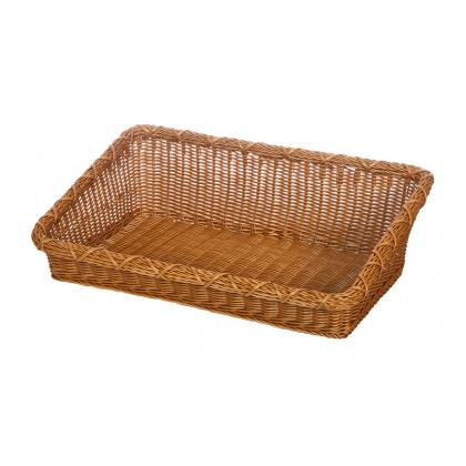 Корзинка пластиковая 600х400х90 мм прямоугольная коричневая [Brown 5533] - интернет-магазин КленМаркет.ру