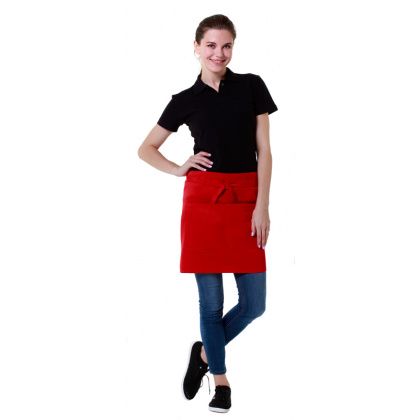 Фартук официанта короткий красный [00303] - интернет-магазин КленМаркет.ру