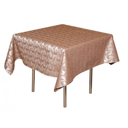 Скатерть 145х145 см «Мати» коричневая с золотом (вензель)  - интернет-магазин КленМаркет.ру