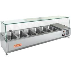 Витрина охлаждаемая настольная HICOLD VRTG 2 со стеклом к столу для пиццы PZ3-11/GN [284241] - интернет-магазин КленМаркет.ру