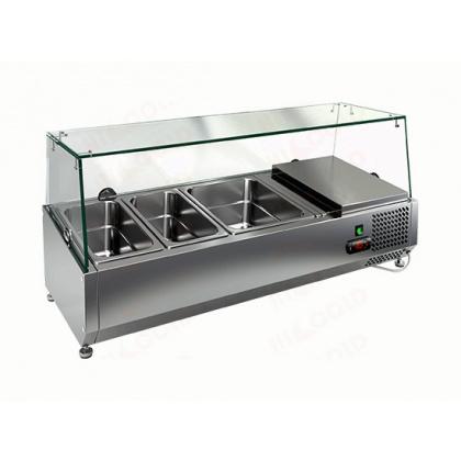 Витрина охлаждаемая настольная HICOLD VRTG 3 со стеклом к столу для пиццы PZE3-111/GN [284230] - интернет-магазин КленМаркет.ру