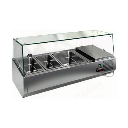 Витрина охлаждаемая настольная HICOLD VRTG 1 со стеклом к столу для пиццы PZE3-11/GN [284258] - интернет-магазин КленМаркет.ру