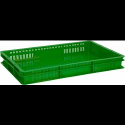 Ящик 600х400х75 мм перфорированные бока сплошное дно, для полуфабрикатов, ПЭНД [ЯП 1.2] - интернет-магазин КленМаркет.ру