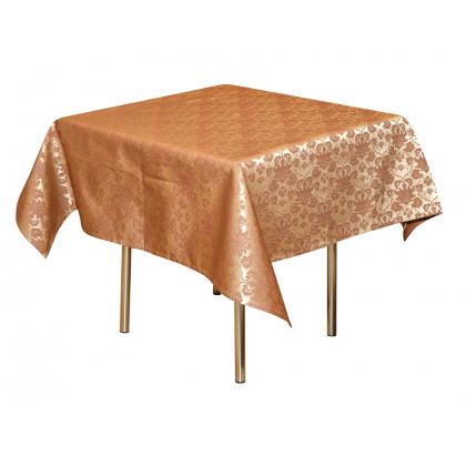 Скатерть 145х145 см «Мати» коричневая с золотом (цветок)  - интернет-магазин КленМаркет.ру
