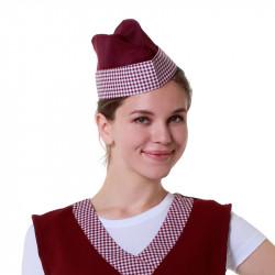 Пилотка продавца бордовая с клеткой - интернет-магазин КленМаркет.ру