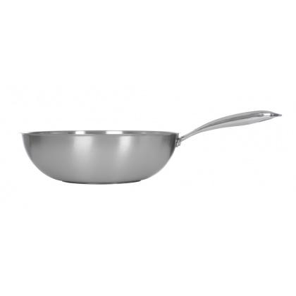 Сковорода ВОК Luxstahl 300/90 из нержавеющей стали [C241341] - интернет-магазин КленМаркет.ру