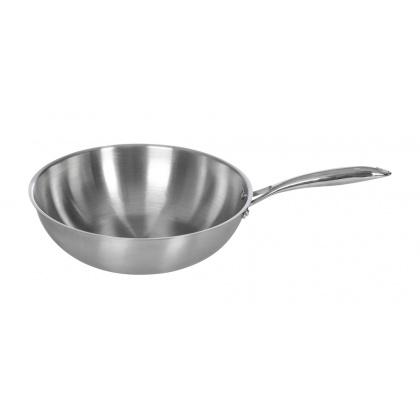 Сковорода ВОК Luxstahl 260/90 из нержавеющей стали [C241341] - интернет-магазин КленМаркет.ру