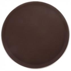 Поднос прорезиненный круглый 400 мм коричневый с ободком из нержавеющей стали [1600CT Brown]  - интернет-магазин КленМаркет.ру