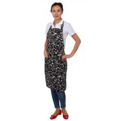 Фартук «Гриль» поварёшки и кастрюли на чёрном фоне [00301]  - интернет-магазин КленМаркет.ру